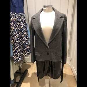 PINKO Gray Coat  With Black Sequence / Size  8